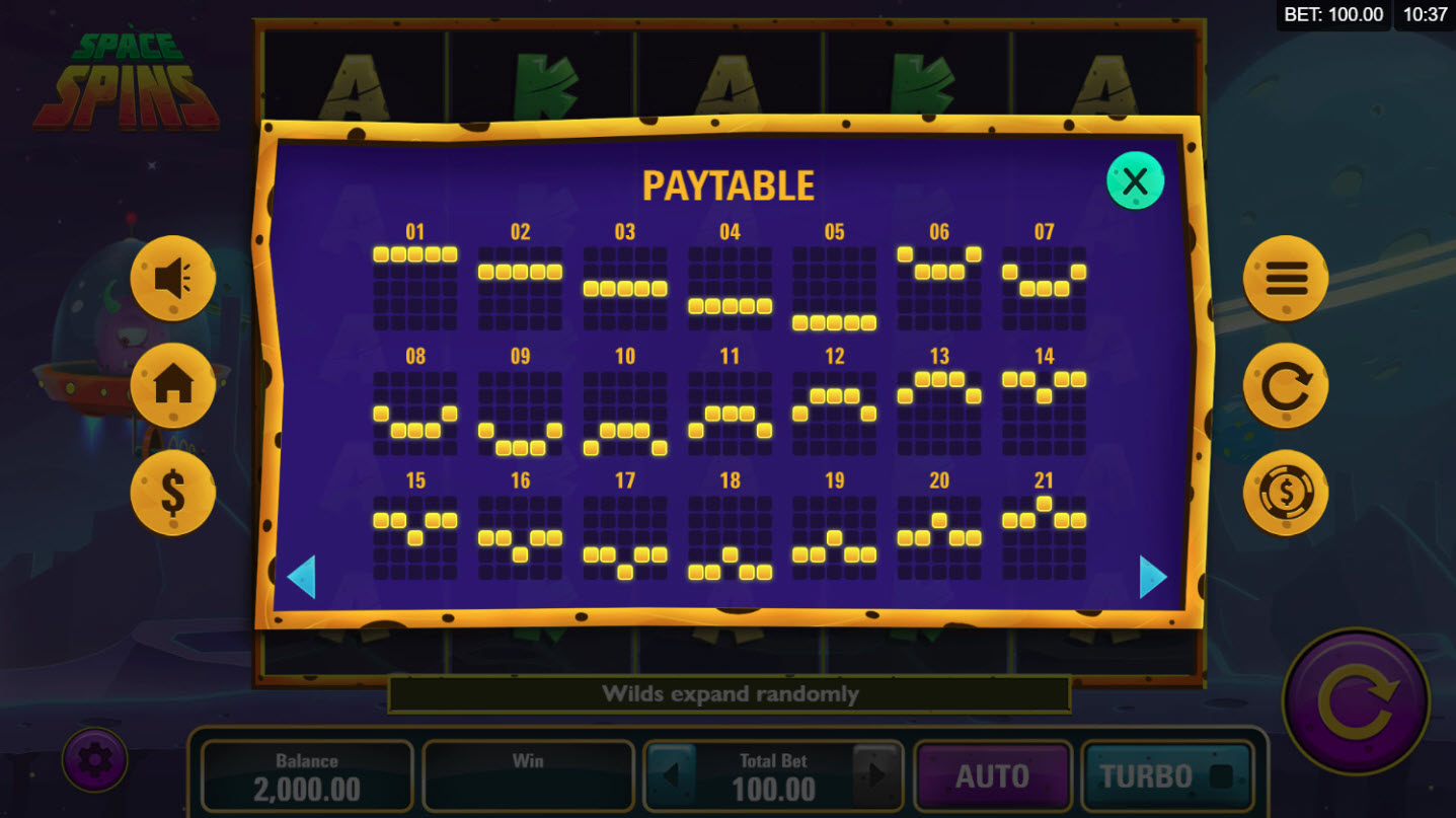 Play slots at Casino Mate: Casino Mate featuring the Video Slots Space Spins with a maximum payout of $30,000