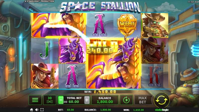 Space Stallion :: Mega symbols triggers multiple winning paylines
