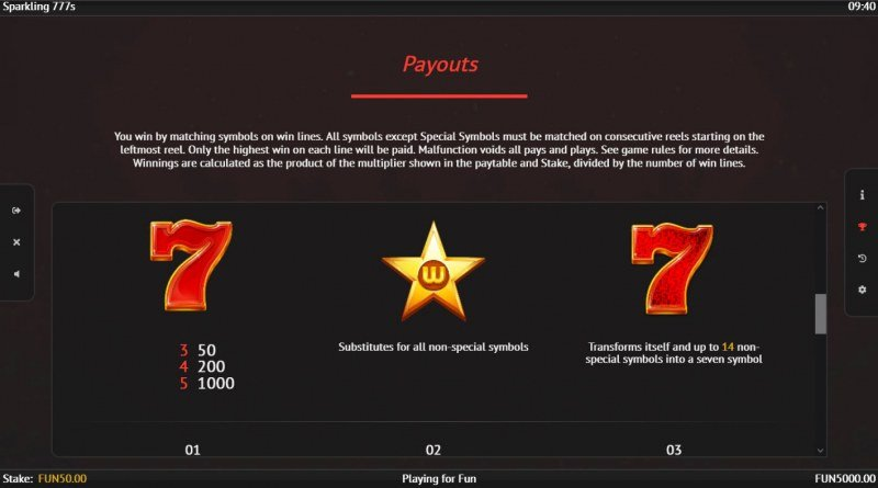 Sparkling 777s :: Paytable - High Value Symbols