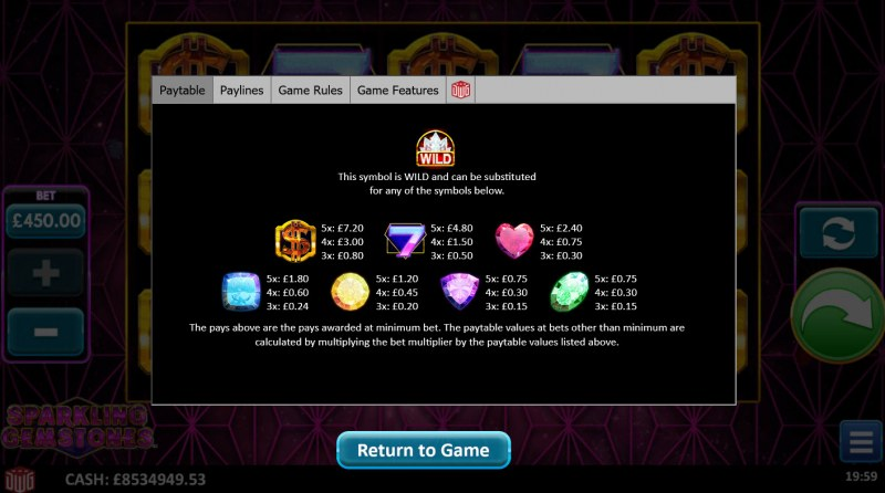 Sparkling Gemstones :: Paytable