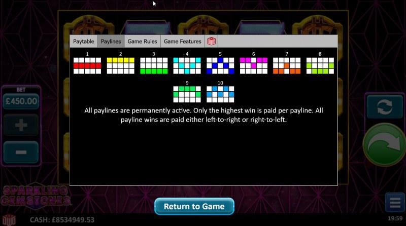 Sparkling Gemstones :: Paylines 1-10