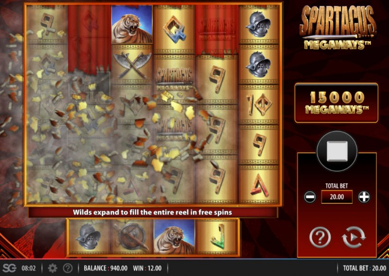 Spartacus Megaways :: Winning symbols are removed from the reels and new symbols drop in place