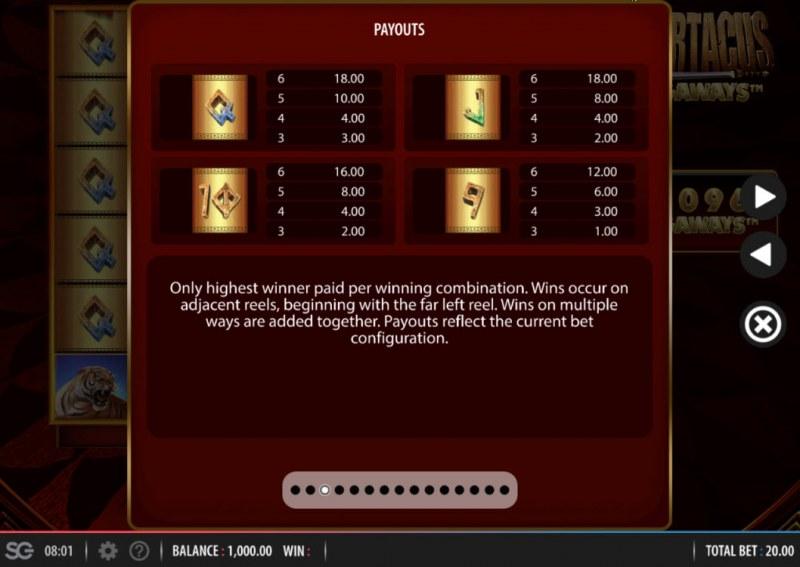 Spartacus Megaways :: Paytable - Low Value Symbols