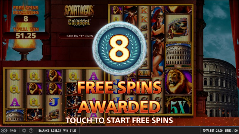 Spartacus Super Colossal Reels :: 8 free spins awarded