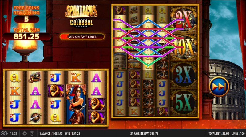 Spartacus Super Colossal Reels :: Multiple winning combinations lead to a big win
