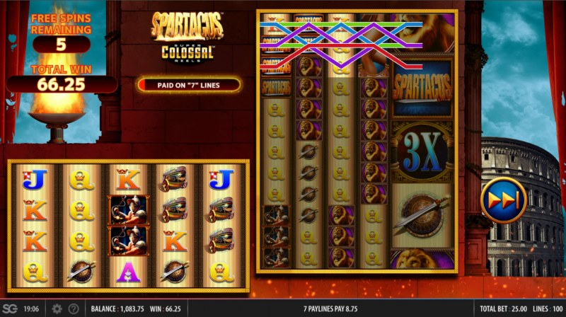 Spartacus Super Colossal Reels :: Free Spins Game Board