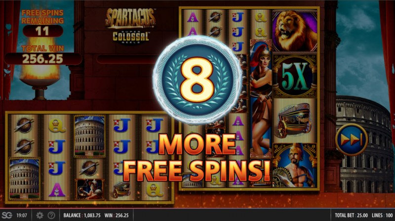 Spartacus Super Colossal Reels :: 8 additional free spins awarded