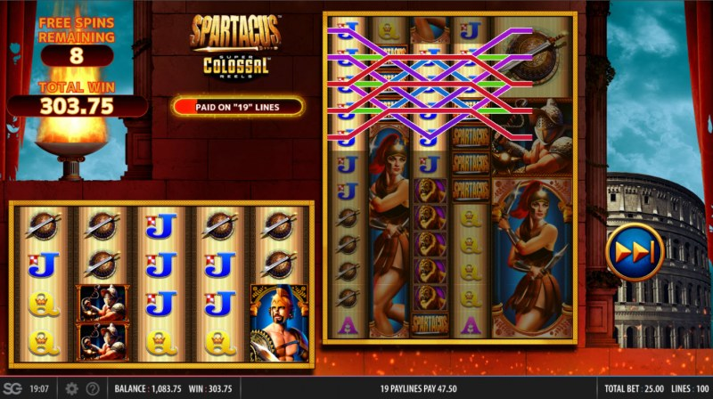 Spartacus Super Colossal Reels :: Multiple winning paylines