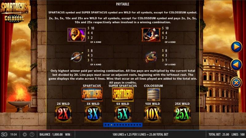 Spartacus Super Colossal Reels :: Paytable - Medium Value Symbols