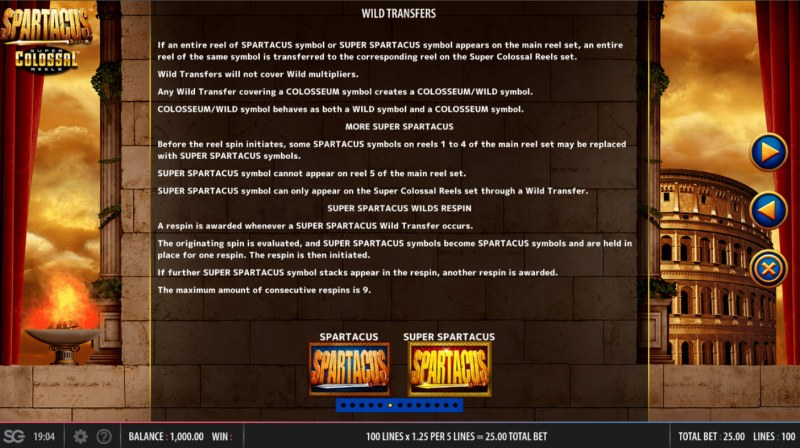 Spartacus Super Colossal Reels :: Wild Transfers