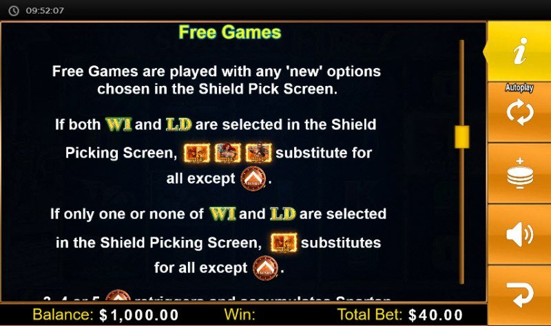 Spartan Fire :: Free Spins Rules