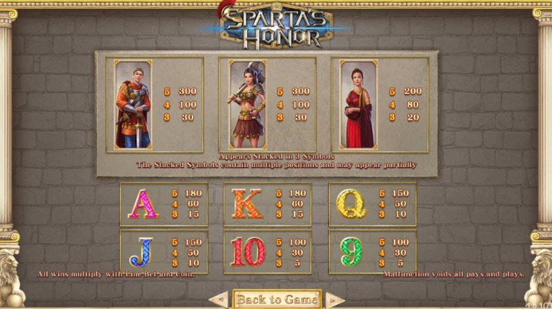 Sparta's Honor :: Paytable