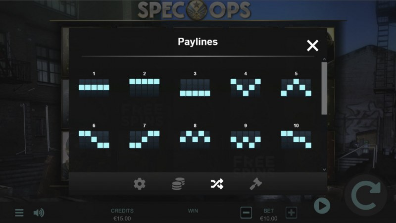 Spec-Ops :: Paylines 1-10