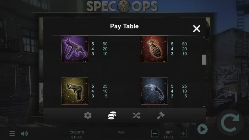 Spec-Ops :: Paytable - Low Value Symbols