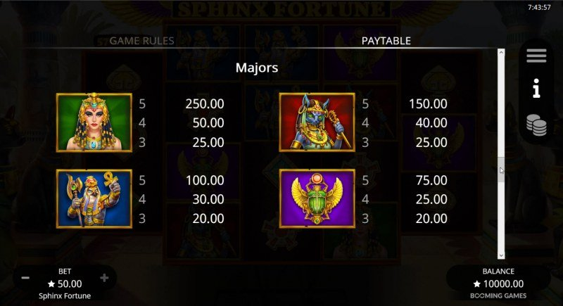 Sphinx Fortune :: Paytable - High Value Symbols