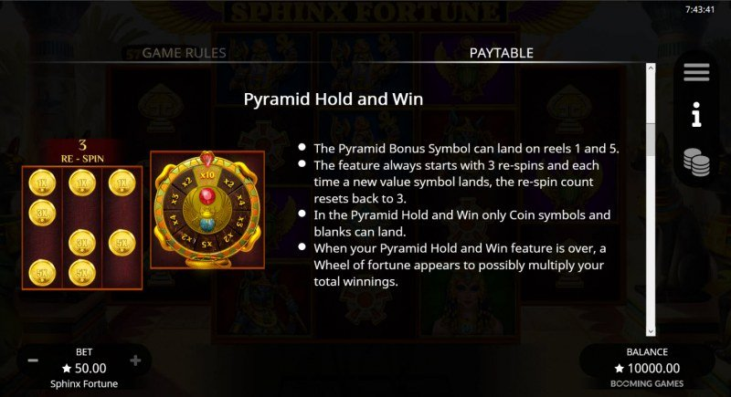 Sphinx Fortune :: Pyramid Hold and Win