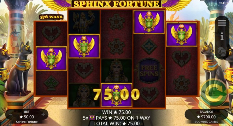 Sphinx Fortune :: A five of a kind win