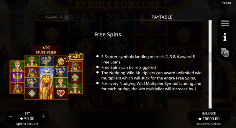 Sphinx Fortune :: Free Spin Feature Rules