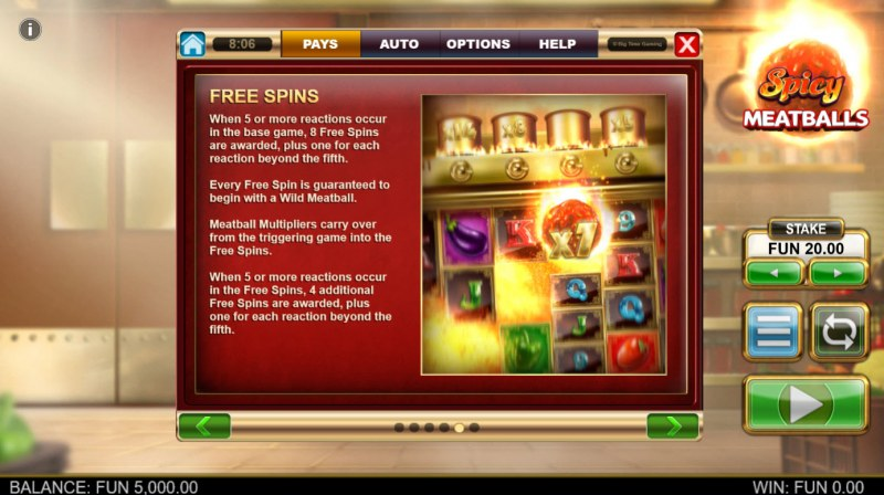 Spicy Meatballs Megaways :: Free Spin Feature Rules