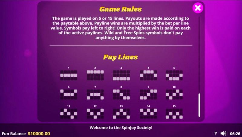 Spin Joy Society :: Paylines 1-15