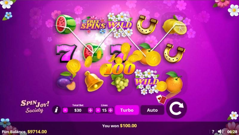 Spin Joy Society :: A three of a kind win