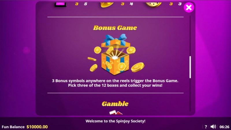 Spin Joy Society :: Bonus Game