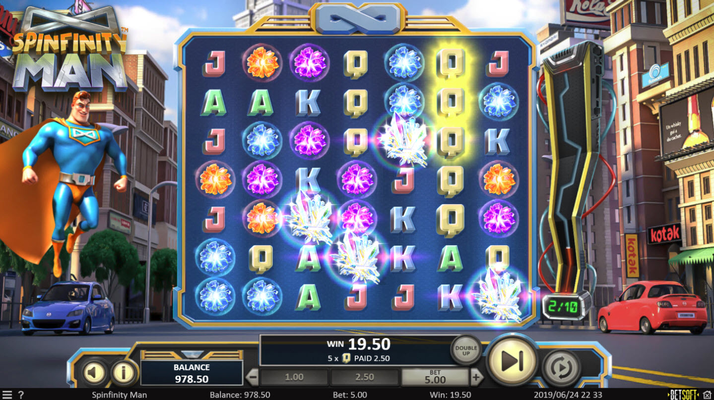 Play slots at Casino Mate: Casino Mate featuring the Video Slots Spinfinity Man with a maximum payout of $10,000