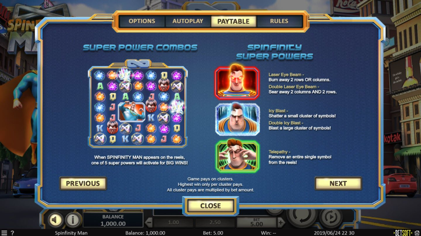 Play slots at Wizbet: Wizbet featuring the Video Slots Spinfinity Man with a maximum payout of $10,000
