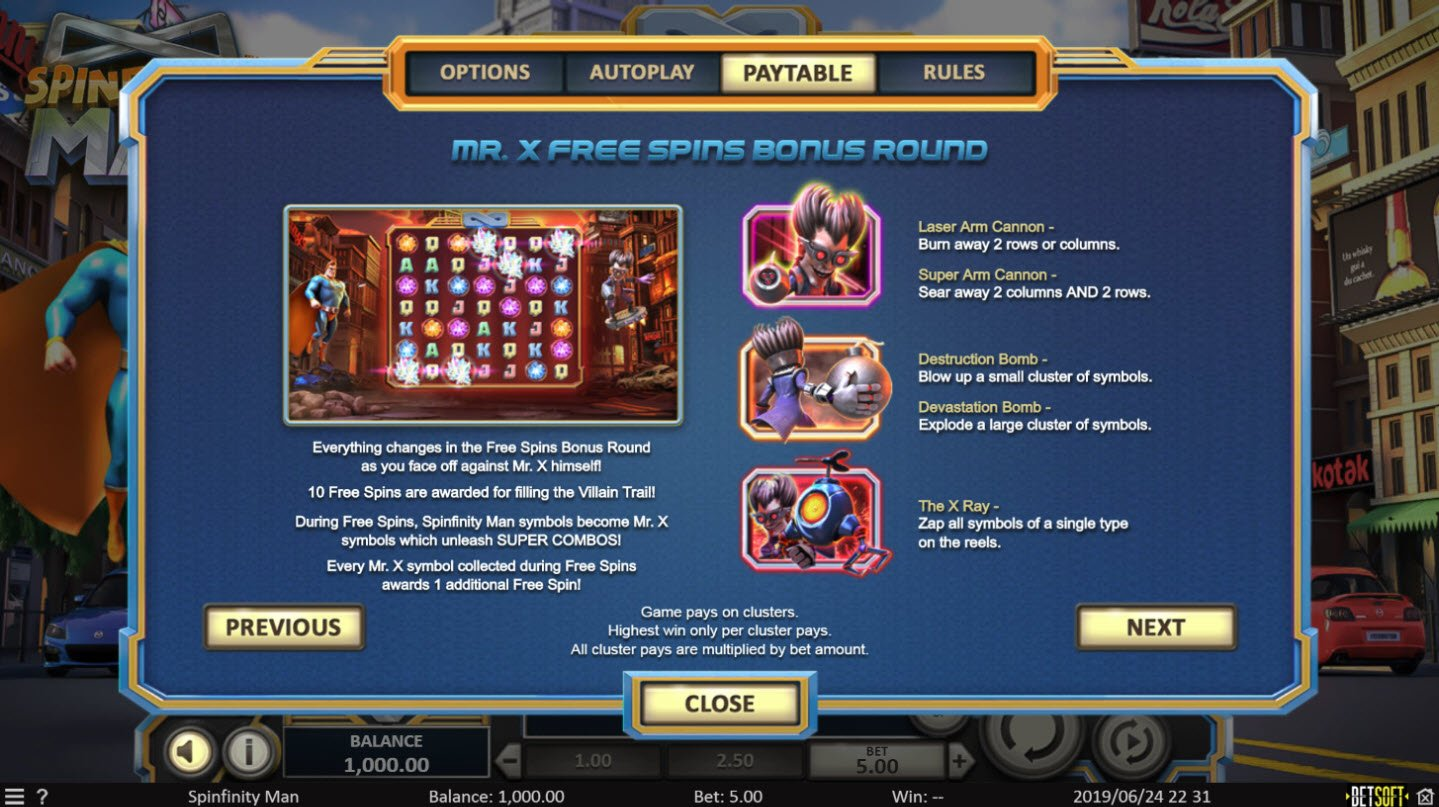 Play slots at Split Aces: Split Aces featuring the Video Slots Spinfinity Man with a maximum payout of $10,000