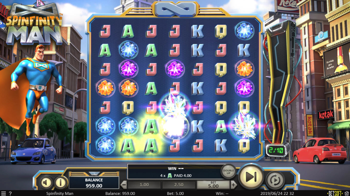 Play slots at play2win: play2win featuring the Video Slots Spinfinity Man with a maximum payout of $10,000