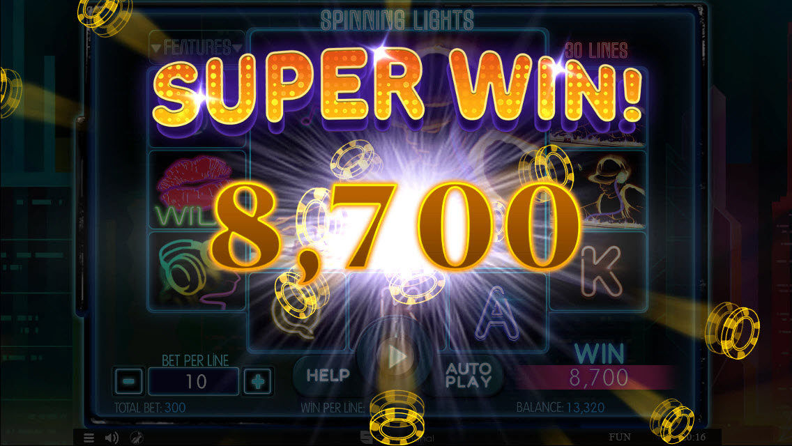 Play slots at Sports and Casino: Sports and Casino featuring the Video Slots Spinning Lights with a maximum payout of $45,000