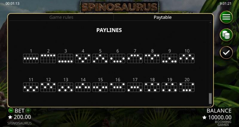 Spinosaurus :: Paylines 1-20