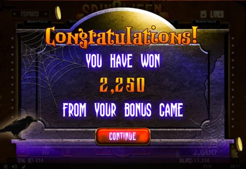 Spinoween :: Total bonus payout