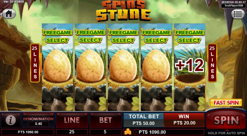 Spins Stone :: Select an egg to reveal the number of free games and win multiplier