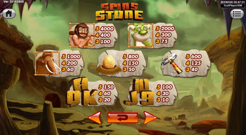 Spins Stone :: Paytable