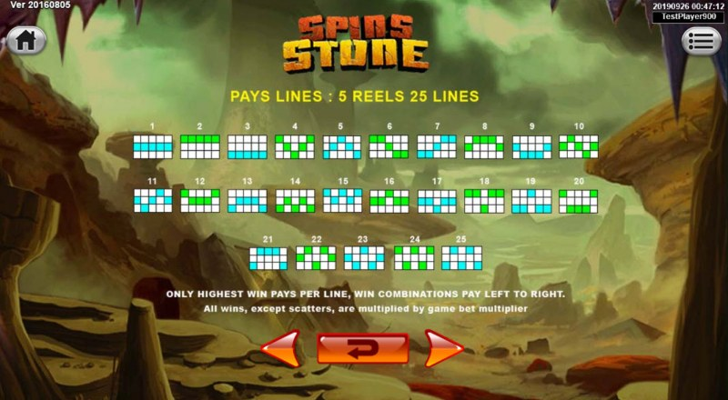Spins Stone :: Paylines 1-25