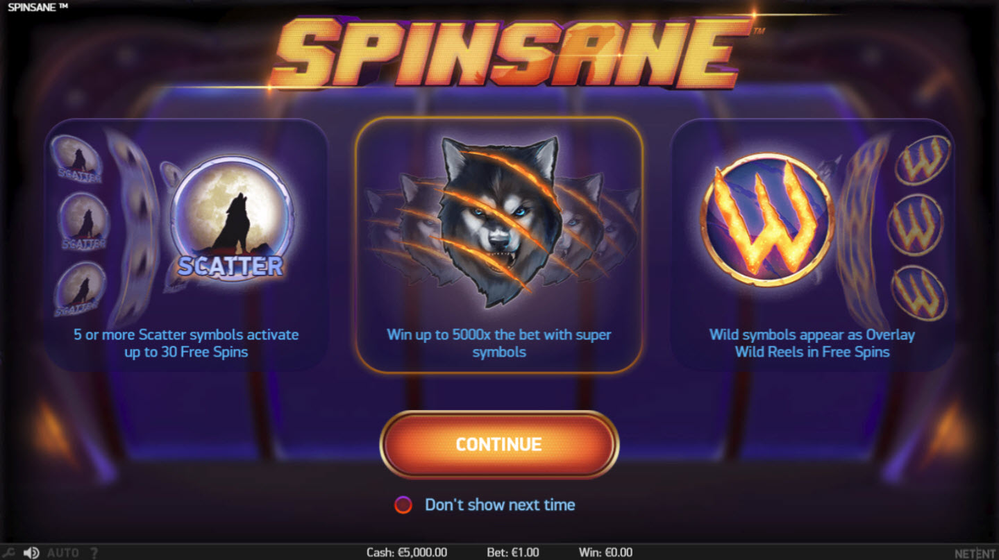 Play slots at Neder: Neder featuring the Video Slots Spinsane with a maximum payout of $250,000