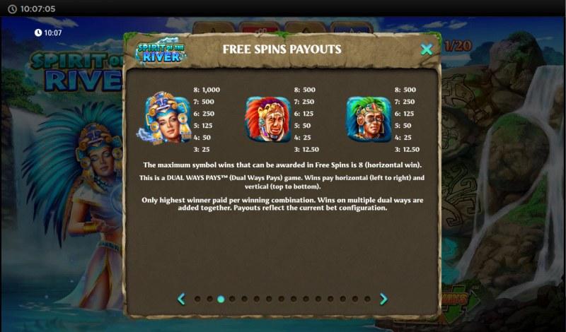 Spirit of the River :: Free Spins - Hi Value Symbols