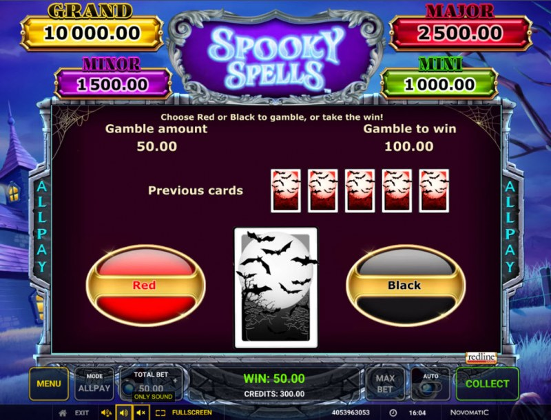 Spooky Spells :: Red or Black Gamble Feature