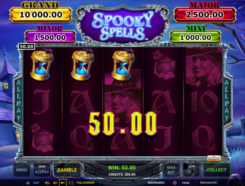 Spooky Spells :: A three of a kind win