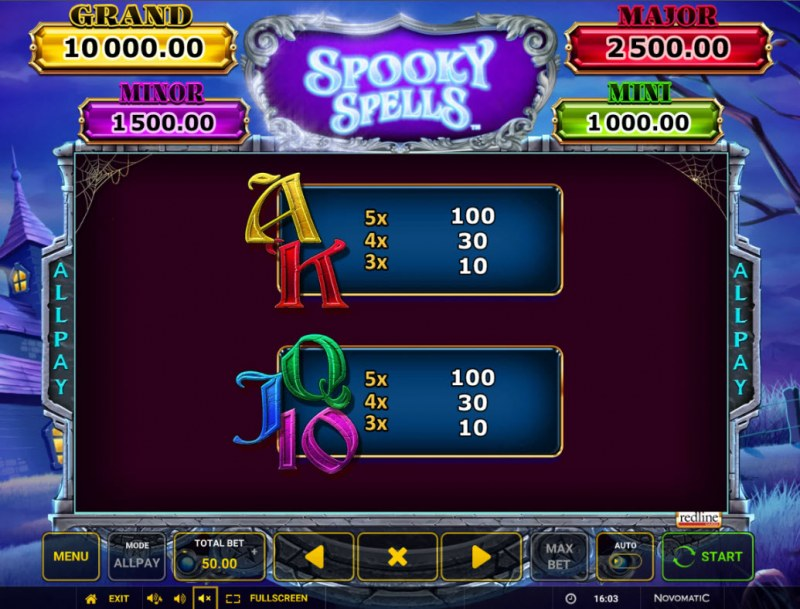 Spooky Spells :: Paytable - Low Value Symbols