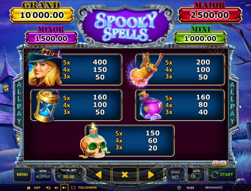 Spooky Spells :: Paytable - High Value Symbols