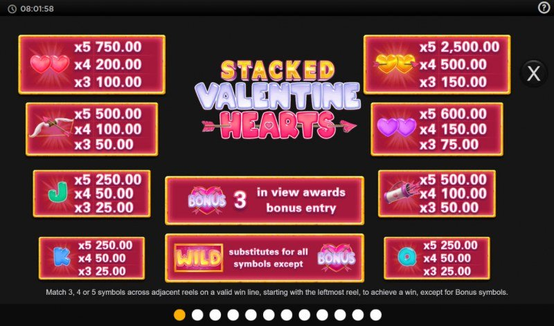 Stacked Valentine Hearts :: Paytable