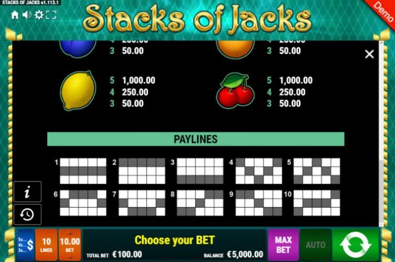 Stacks of Jacks :: Paylines 1-10