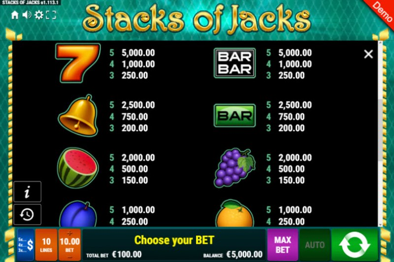 Stacks of Jacks :: Paytable