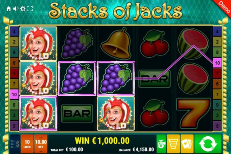 Stacks of Jacks :: Three of a kind win