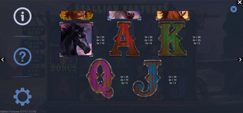 Stallion Fortunes :: Paytable - Low Value Symbols