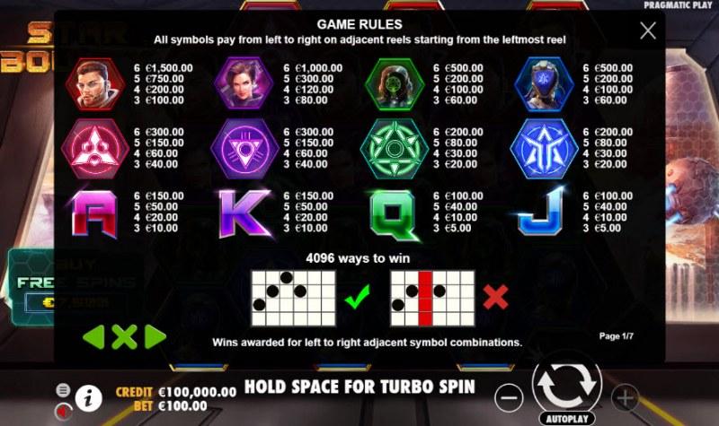 Star Bounty :: Paytable