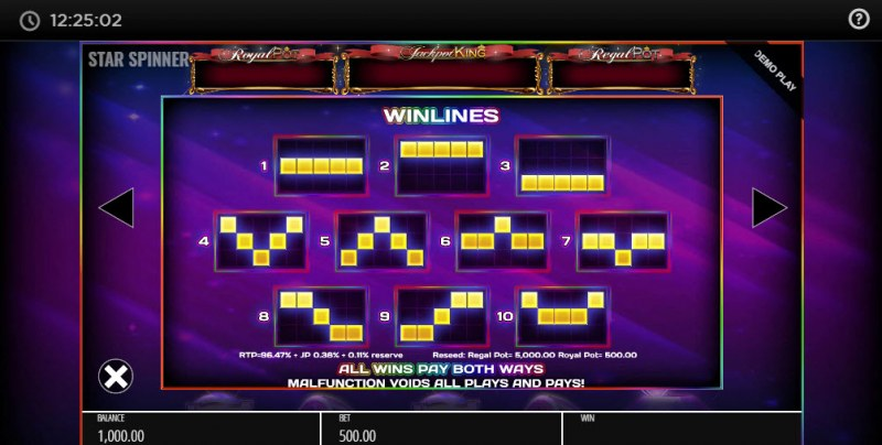 Star Spinner Jackpot King :: Paylines 1-10