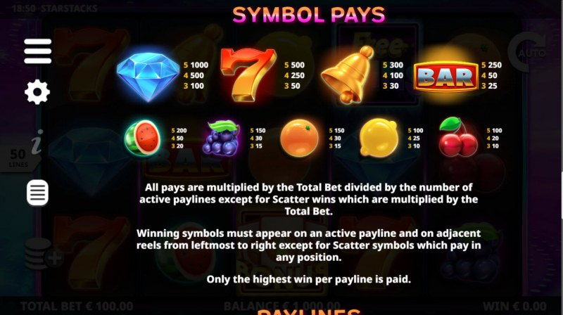 Play slots at Hello: Hello featuring the Video Slots Star Stacks with a maximum payout of $100,000